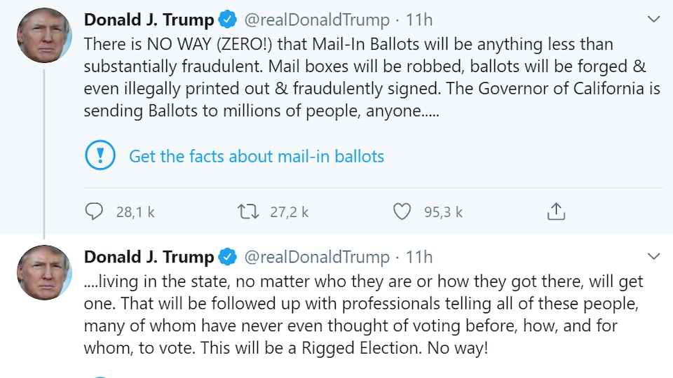 Capture d'écran des deux tweets avec la mention.