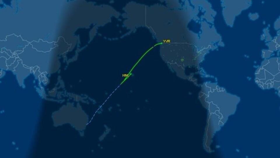 Carte du trajet du vol AC33.