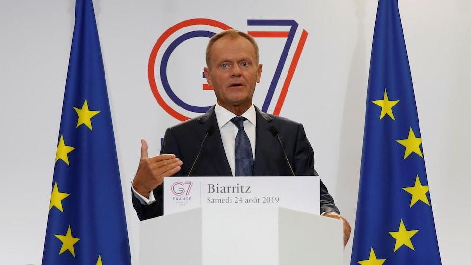 Le président du Conseil européen, Donald Tusk, lors d'une conférence de presse en marge du sommet du G7 à Biarritz, France, le 24 août 2019.