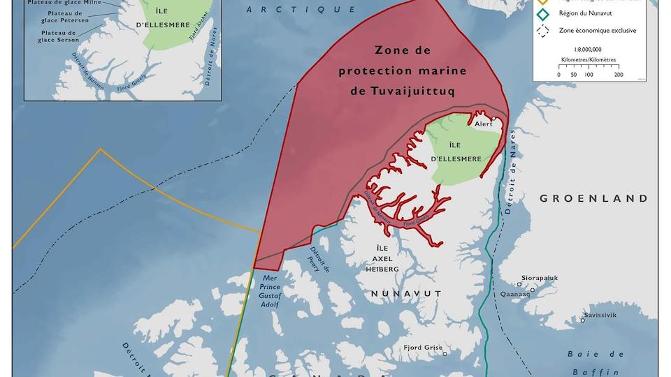 Carte montrant la zone marine protégée de Tuvaijuittuq située à l'extrême nord du Nunavut.