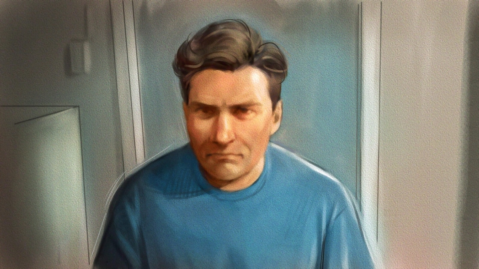 Un dessin de cour de Paul Bernardo lors d'une comparution au début d'octobre.