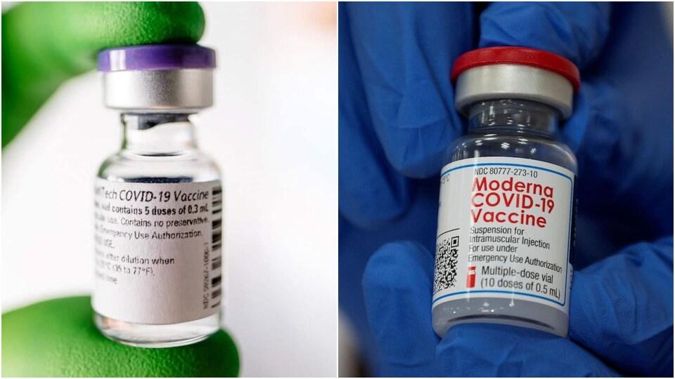 Des photos de fioles de vaccin juxtaposées.