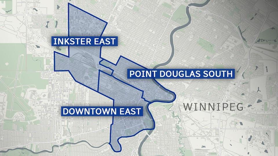 une carte montrant où se situe les 3 quartiers.