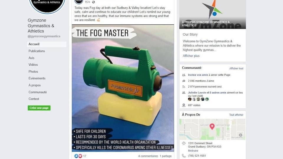 Une capture d'écran faite sur Facebook où l'on voit un vaporisateur.