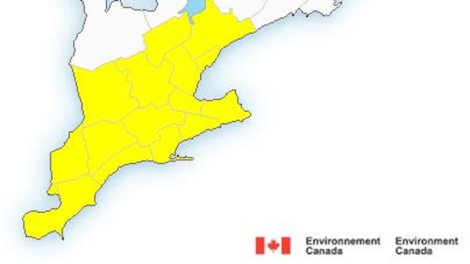 carte de l'agence Environnement Canada avec le sud de l'Ontario en jaune.