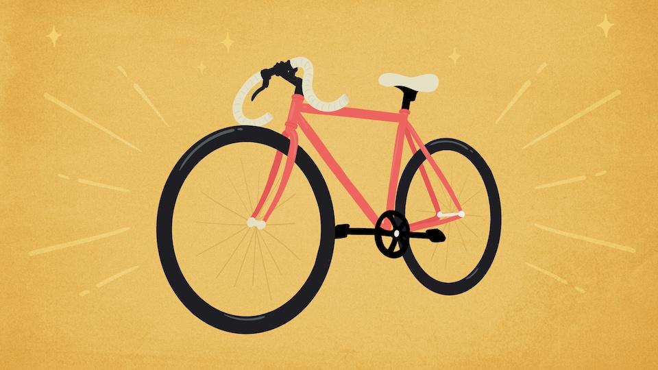 Illustration d'une bicyclette rose sur fond jaune