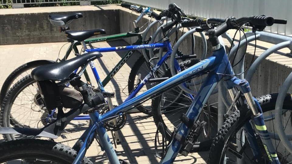 Un support à vélos avec trois bicyclettes