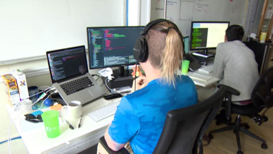 Vue de dos d'employés de Vendasta assis devant leurs ordinateurs.