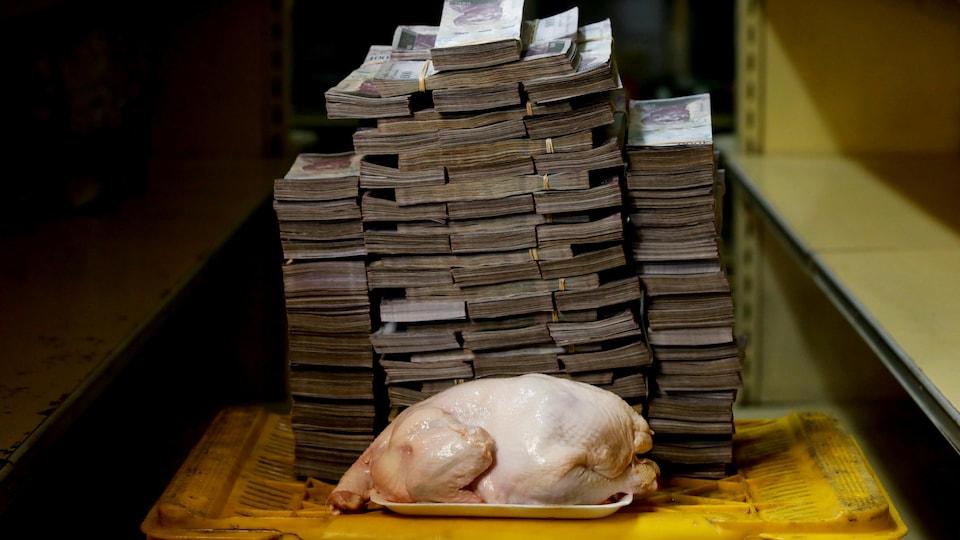 Des piles de billets entourent un poulet cru posé sur une barquette.