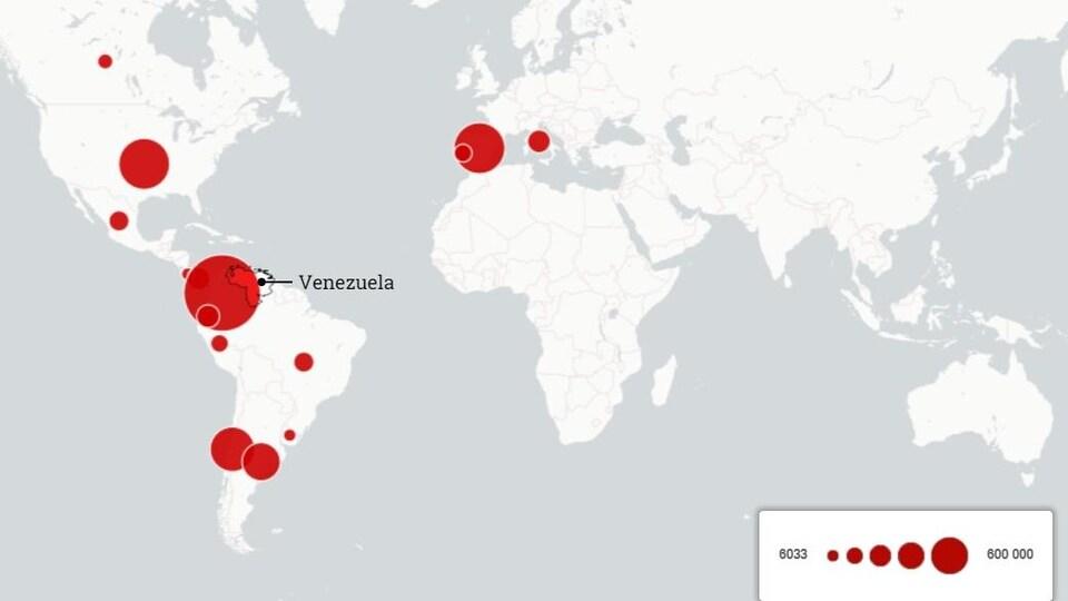Carte du monde représentant le nombre d'exilés vénézuéliens.