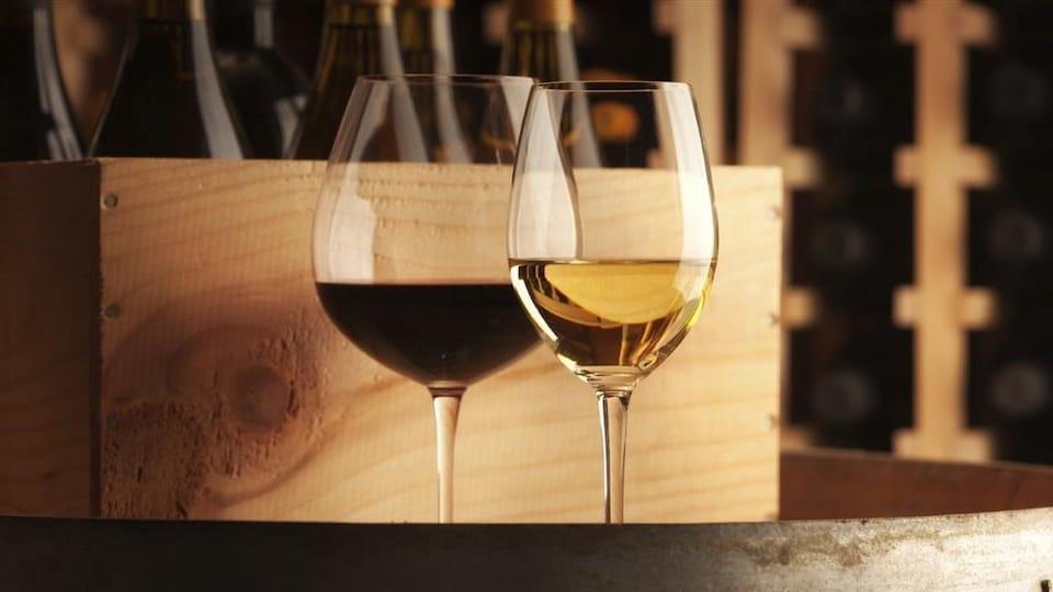 Deux verres de vin blanc et rouge dans une cave