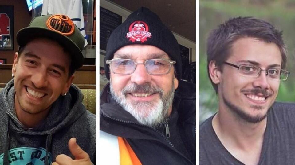 trois portraits d'hommes sont collés