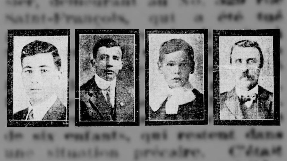 Coupures de journaux des visages des quatres victimes de l'émeute.
