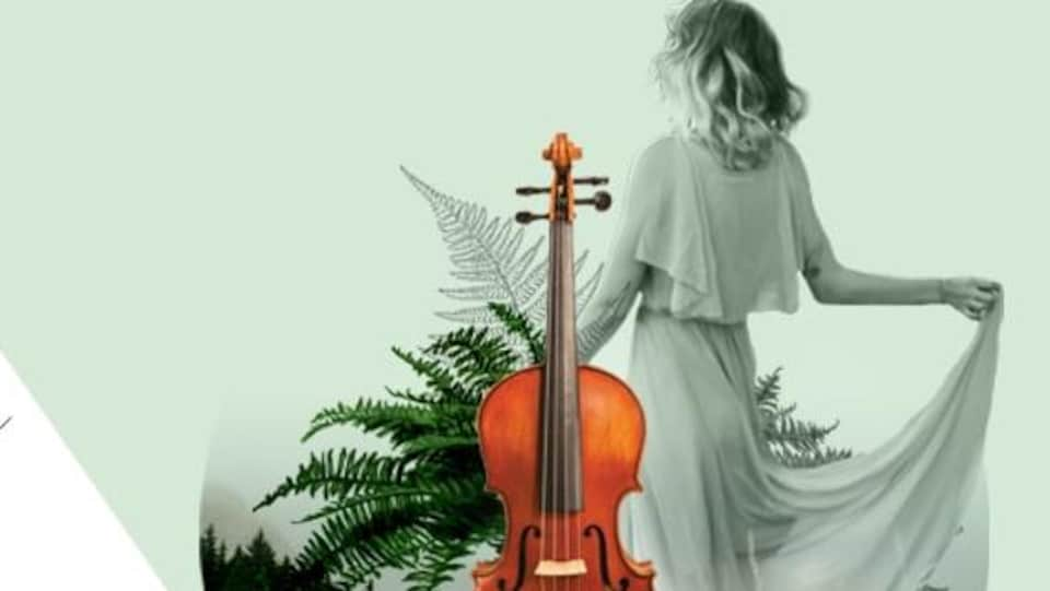 une affiche d'une femme de dos, avec un violon et des plantes.