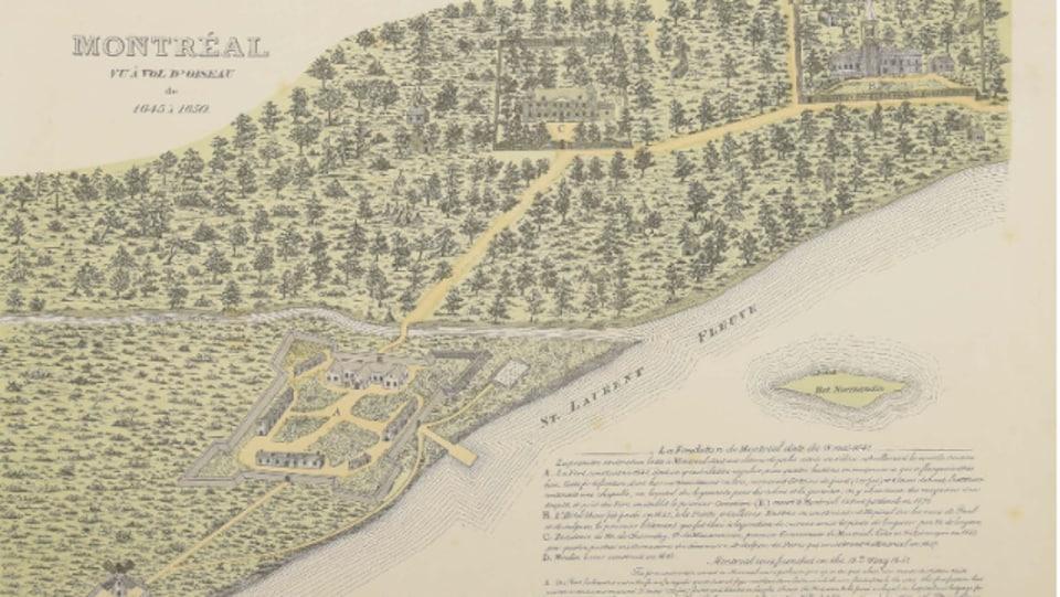 Le fort Ville-Marie, la résidence de Maisonneuve et l'Hôtel-Dieu apparaissent sur cette carte de Montréal de 1645 à 1650