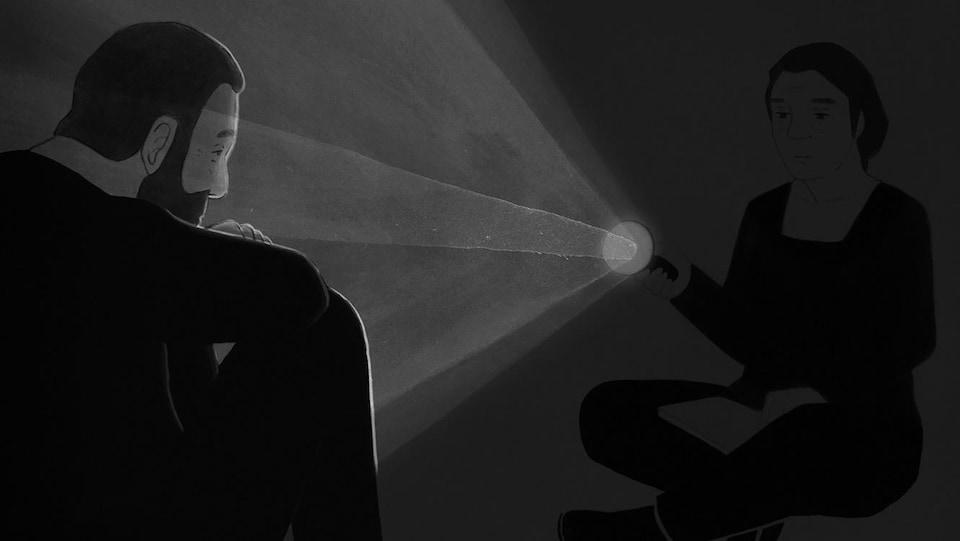 Un extrait du dessin d'animation en noir et blanc de «Ville Neuve», de Félix Dufour-Laperrière