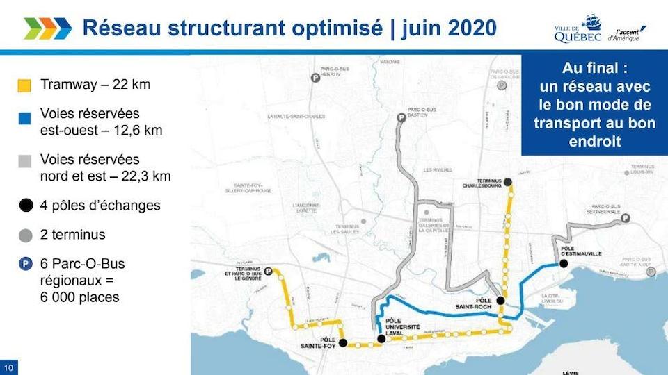 Carte révisée du réseau structurant de transport en commun dévoilée en juin 2020.