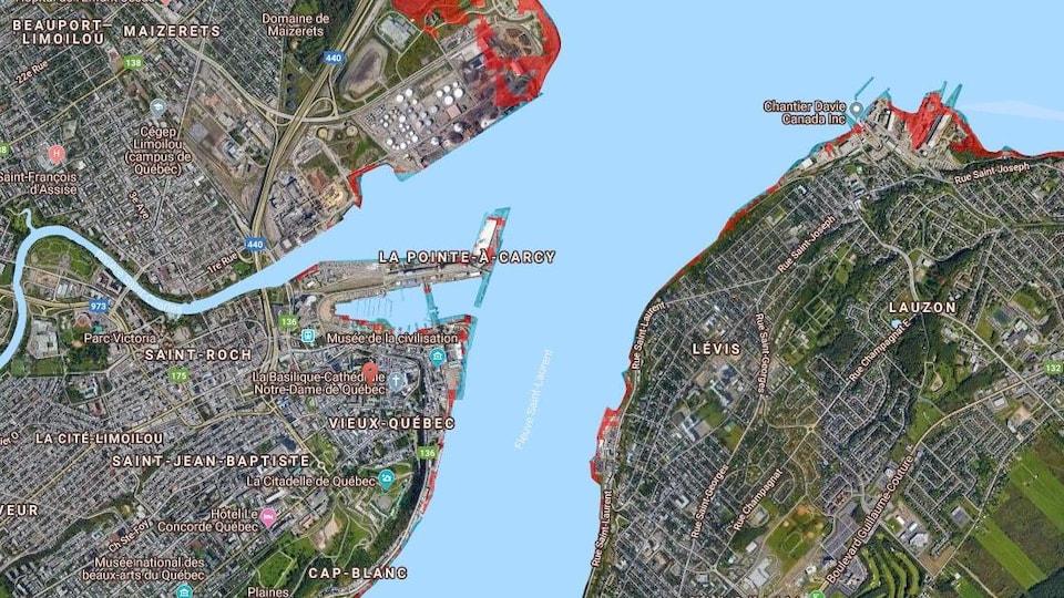 Une carte de Québec et de Lévis