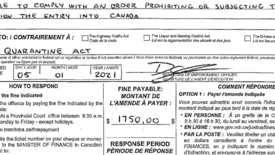 Une photocopie de l'amende avec la signature de l'agent, la date de la signature et le montant de l'amende à payer avec une phrase pour expliquer les raisons de l'amende.