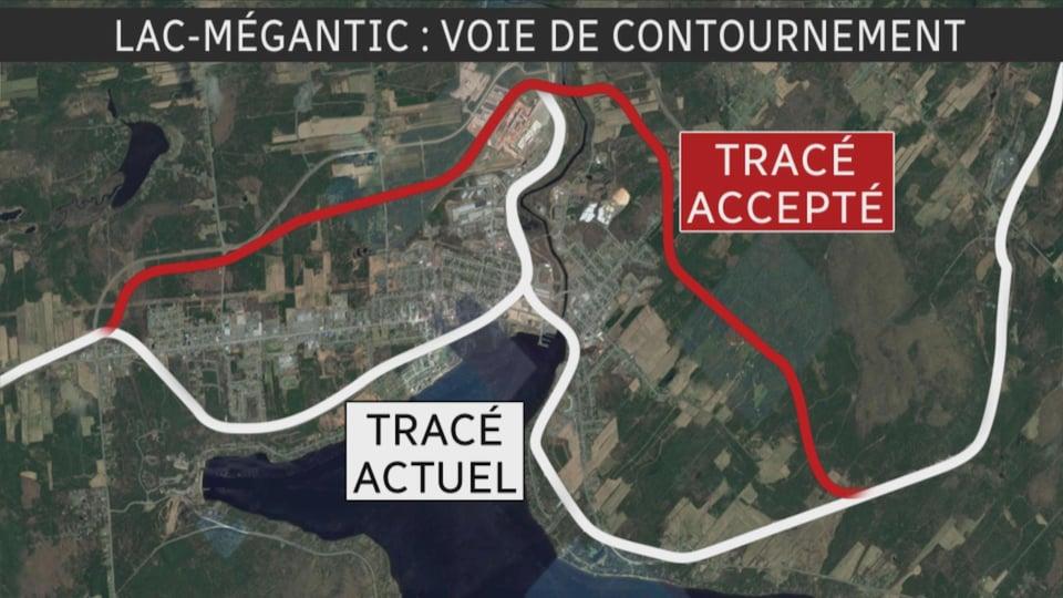 Les tracés actuel et accepté de la voie de contournement à Lac-Mégantic.