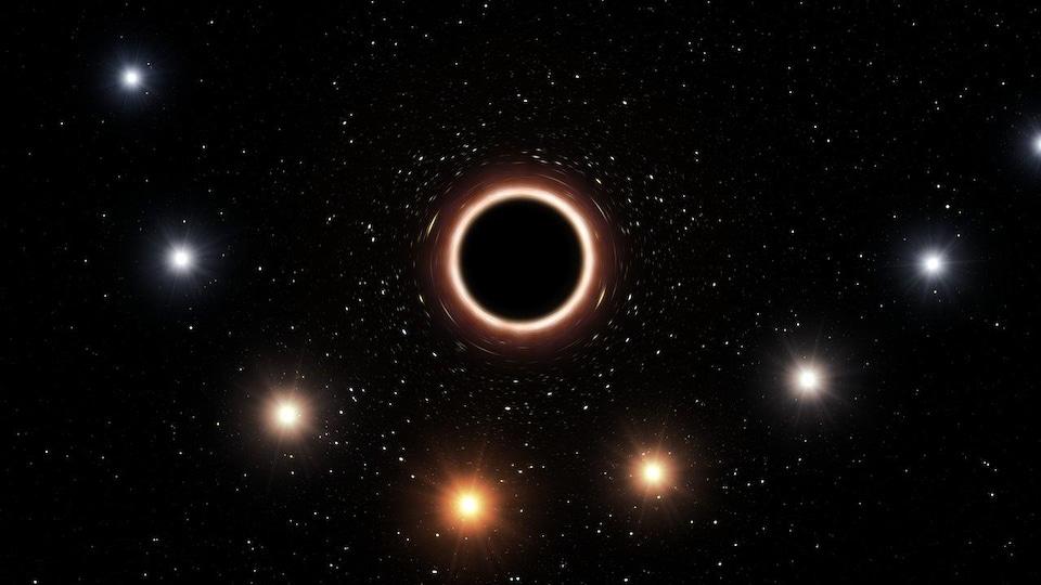 Impression artistique d'une étoile passant à proximité du trou noir supermassif situé au centre de la Voie lactée.