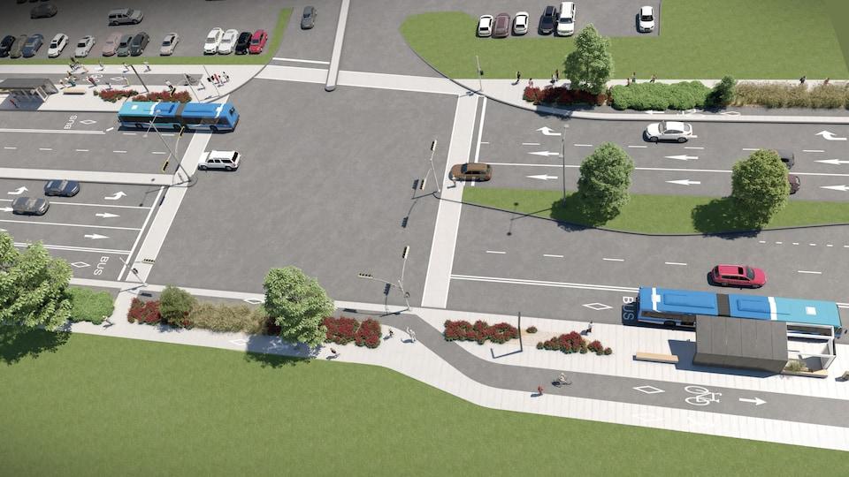 Maquette des voies réservées qui seront aménagées sur le boulevard Guillaume-Couture, à Lévis.