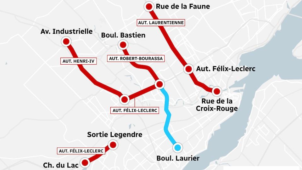 Carte des tronçons de voies réservées sur le réseau routier de Québec.