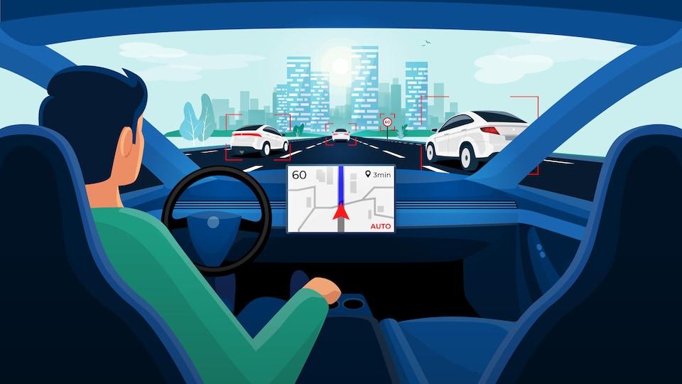 Dessin d'un homme dans une voiture autonome qui se déplace sur une autoroute avec d'autres voitures.