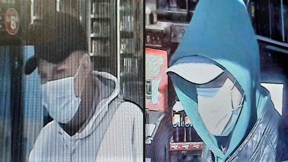 Images des deux personnes recherchées captées par une caméra de surveillance.