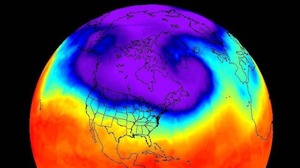 Illustration de la NASA montrant un tourbillon polaire.