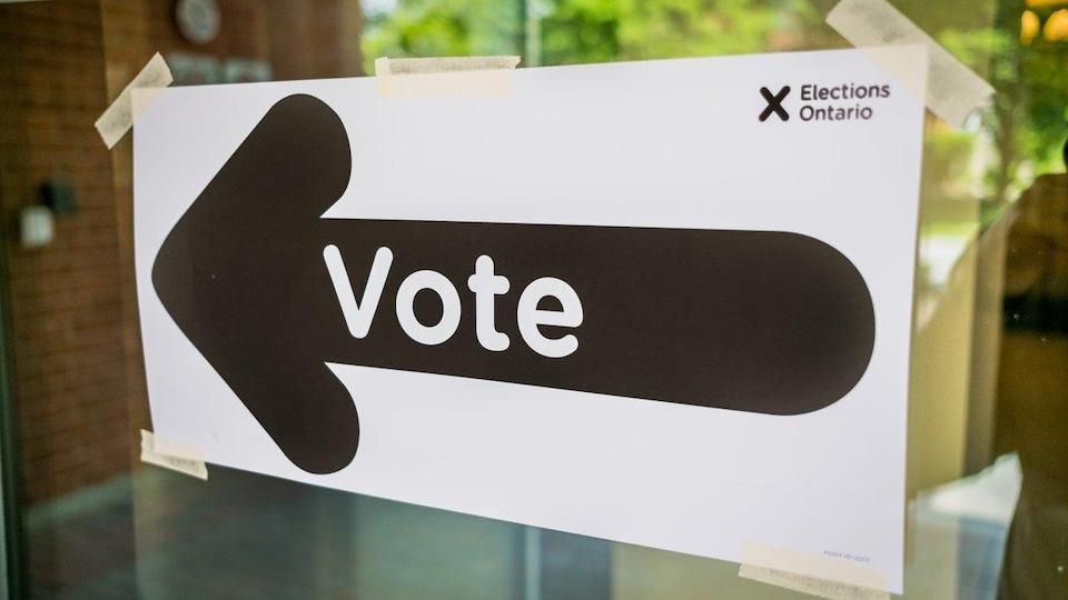 Une enseigne avec une flèche qui indique où aller voter.