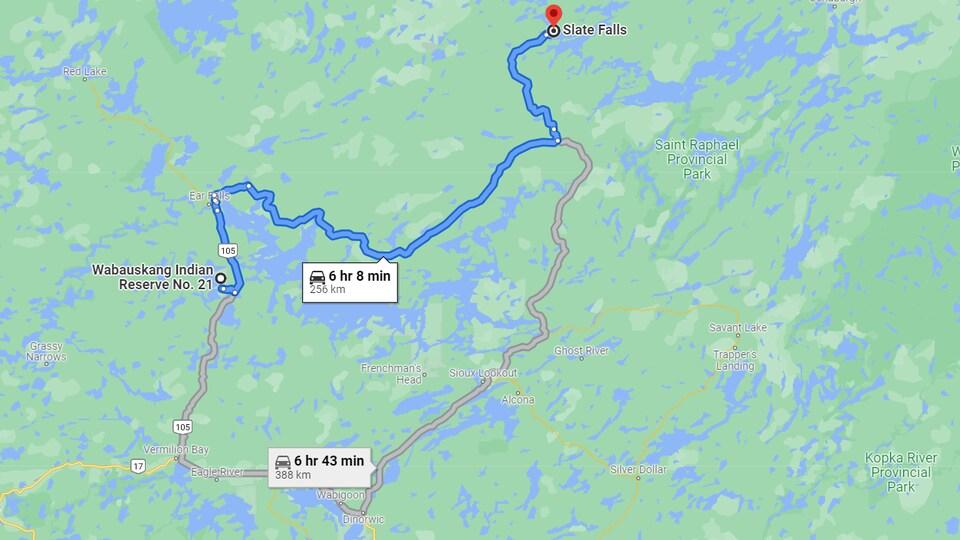Carte qui montre la route à prendre.