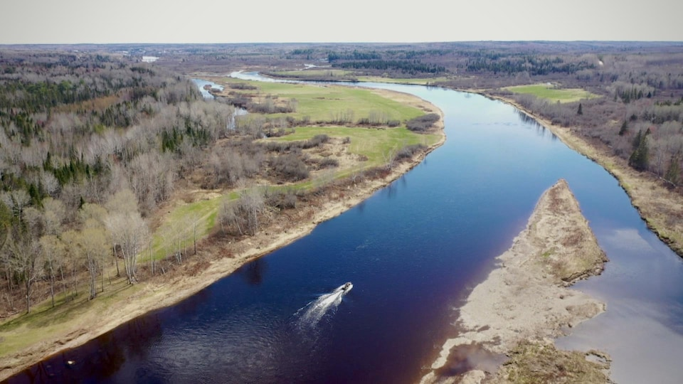 Vue aérienne de la rivière Miramichi où circule un bateau à moteur.
