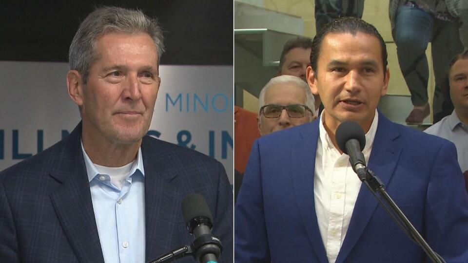 Un collage de deux photos, montrant Brian Pallister et Wab Kinew devant des micros lors de conférences de presse.