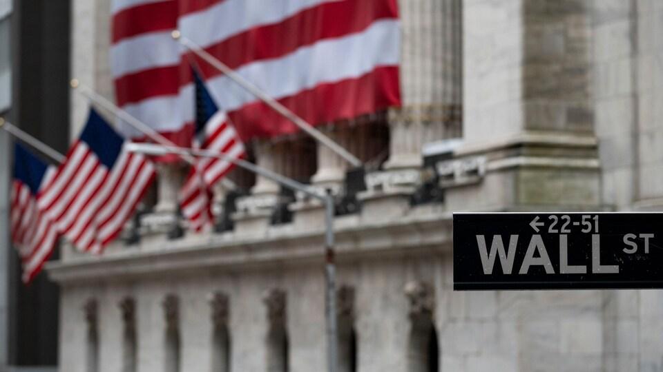 Un panneau de signalisation indiquant « Wall Street » devant la Bourse de New York.