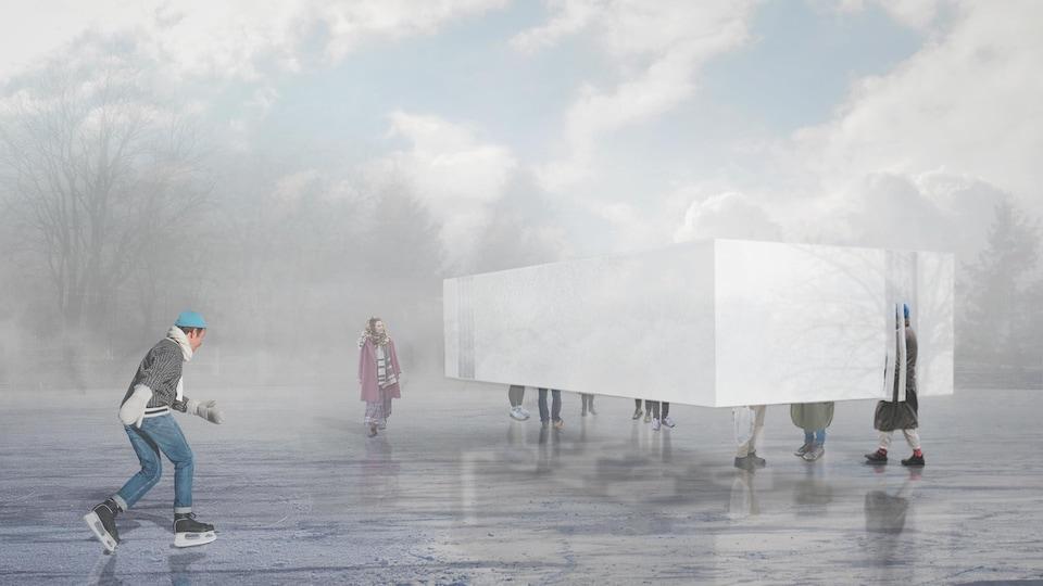 Image du concept de Hoverbox, une boite qui semble léviter sur la glace.