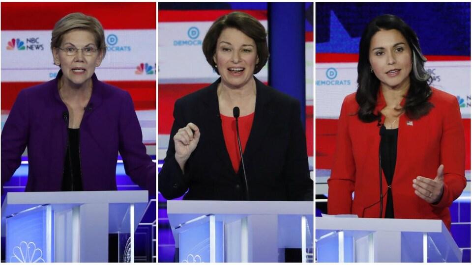 Montage photo d'Elizabeth Warren, Amy Klobuchar et Tulsi Gabbard, photographiées pendant le débat.