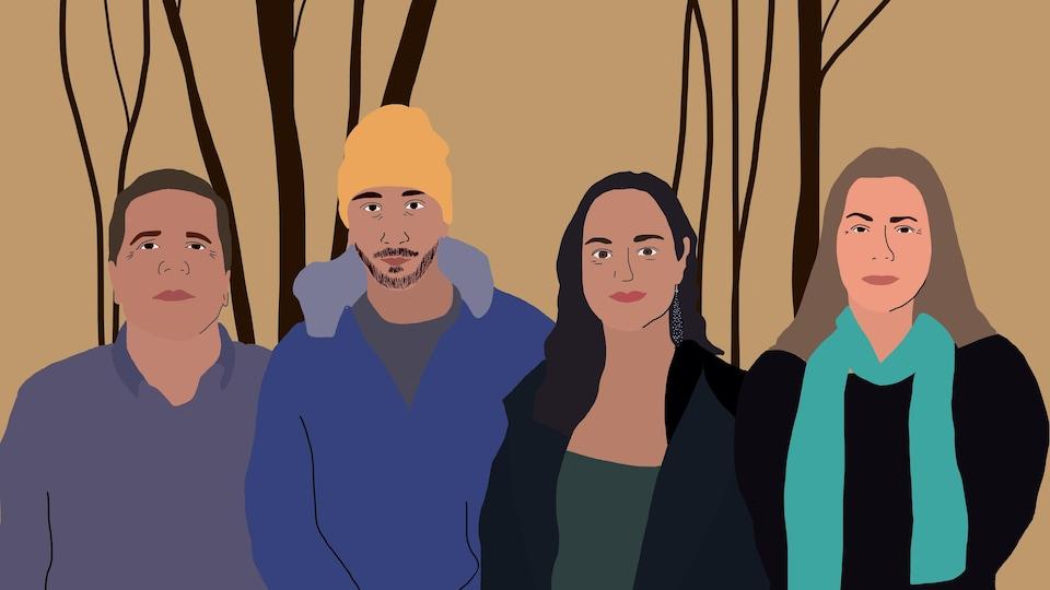 Illustration graphique de quatre membres de la nation huronne-wendat.