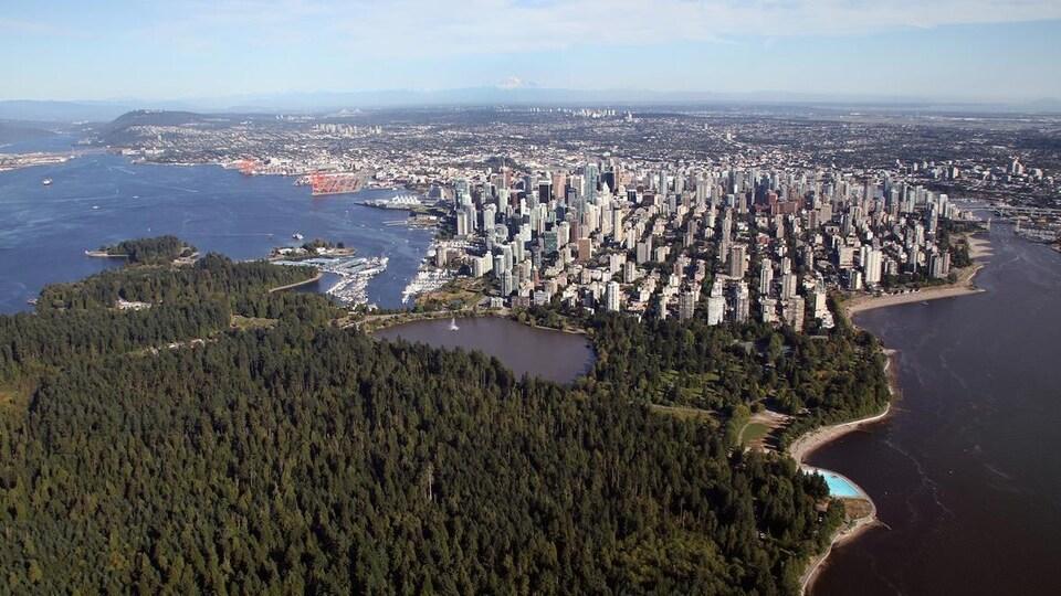 Vue d'un immense parc avec un centre-ville.