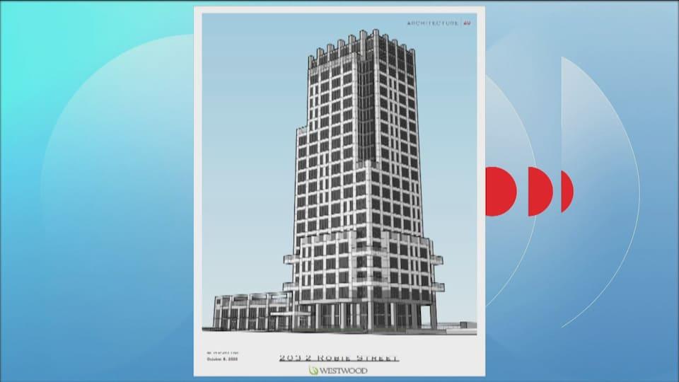 Une tour d'immeuble de 23 étages.