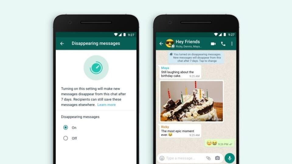 Deux écrans de téléphone montrent la nouvelle fonction activée de l'application de messagerie WhatsApp. L'écran de gauche montre plus précisément une conversation de groupe.