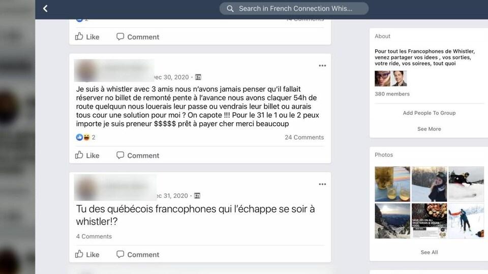 Un Québécois dont le nom a été effacé envoie des messages sur un groupe Facebook.