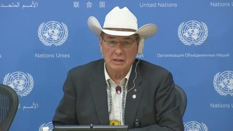 L'avocat cri et ancien chef Willie Littlechild à la 16e session de l'Instance permanente de l'ONU sur les questions autochtones