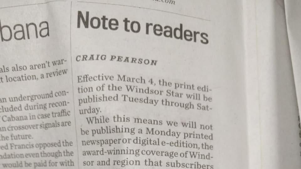 Une capture d'écran d'un journal