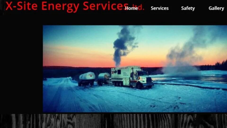 Capture d'écran de la page d'accueil du site Internet de X-Site Energy Services.