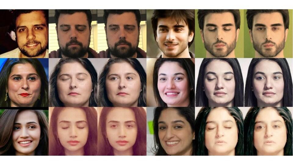 Une image montrant un montage de photos de différentes personnes avec les yeux ouverts et avec les yeux fermés.