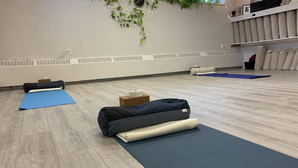 Un studio de yoga vide.