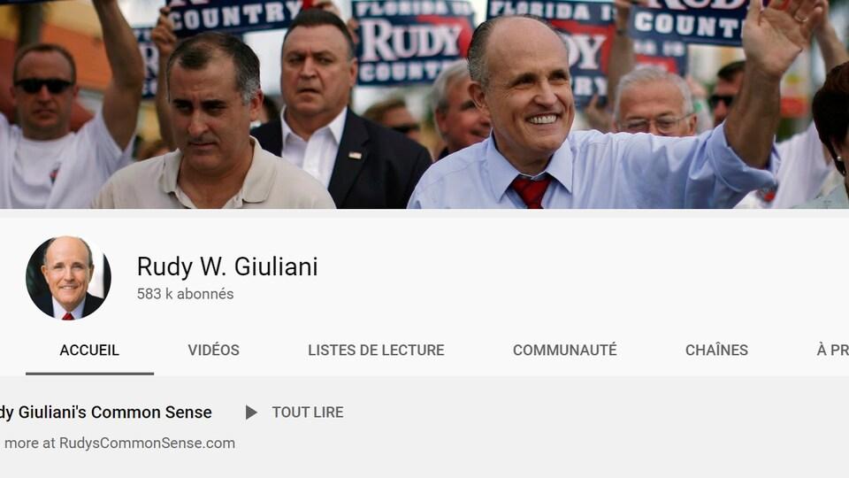 Capture d'écran de l'accueil de la chaîne YouTube de Rudy Giuliani.