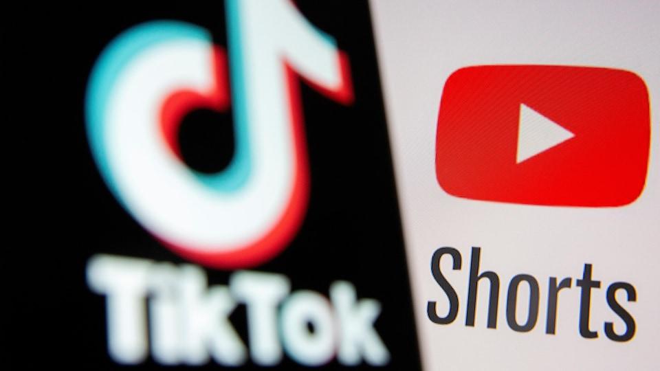 Les logos de TikTok et de YouTube Shorts.