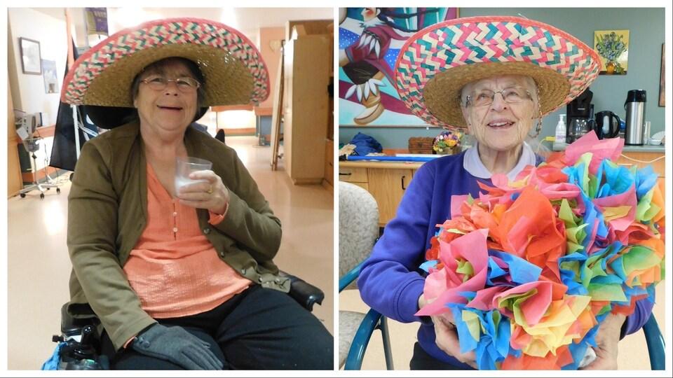 Des dames en fauteuils roulants portant des chapeaux de paille et des fleurs de papier.